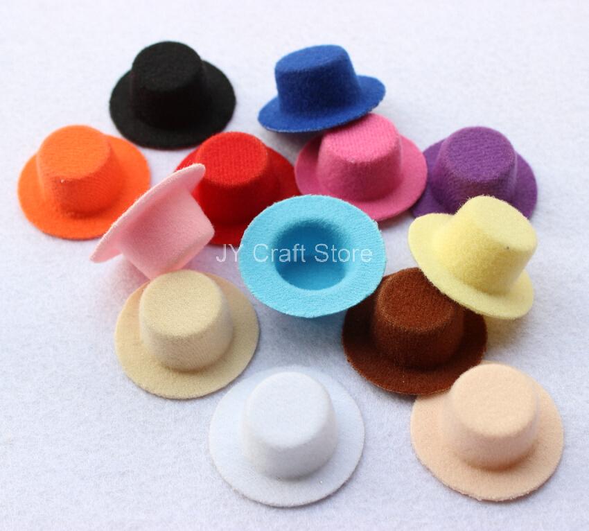 30pcs/lot Hen Party Felt Short Plush Mini Top Hat Fascinator Base Blanks 4cm-5.5cm hair accessories Newborn Photography Hat(China (Mainland))