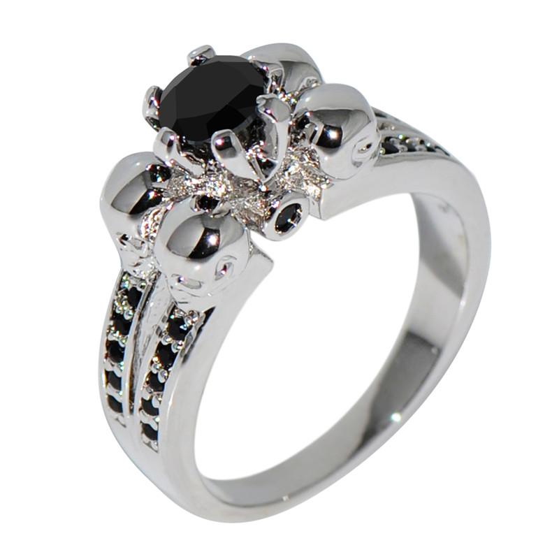 Vintage Black Sapphire Skull Jewelry Halloween Ring Anel
