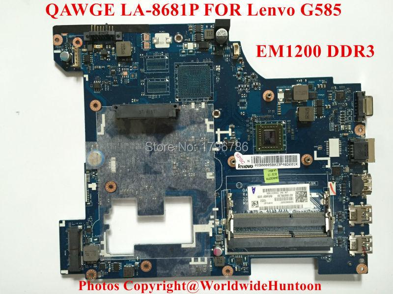 Original laptop motherboard for Lenovo G585 motherboard QAWGE LA-8681P AMD EM1200 integrated DDR3 fully test(China (Mainland))