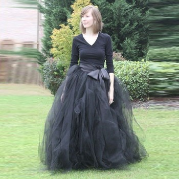 Woman Tulle Skirt 2015 New Fashion Long Black Tutu Skirt Ball Gown With Sashes For Woman All Season High Quality Tulle Skirt