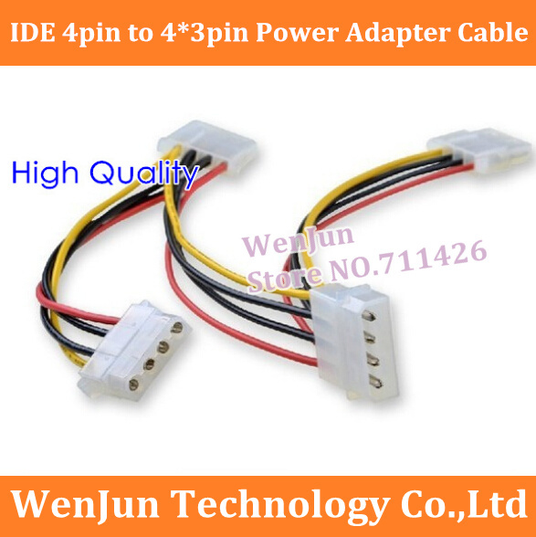 High Quality 4 Pin Molex Male to 3x 4-Pin Molex IDE Female Power Y Splitter Adapter Cable IDE 4pin Extension Cable 50PCS(China (Mainland))