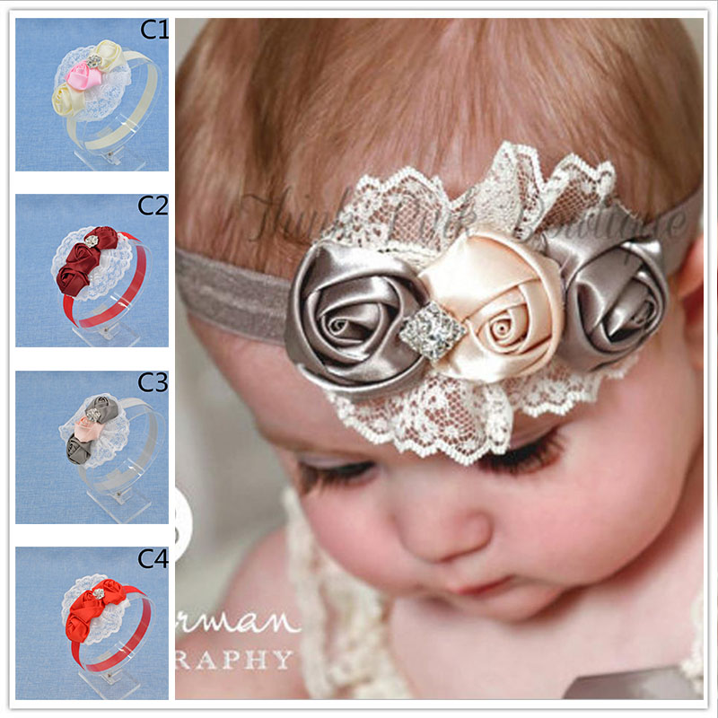 NEW Baby Girls Floral Headband chiffon Flower lace diamond Hairband Infant Hair Weave Band kids Accessories Gifts Stock(China (Mainland))