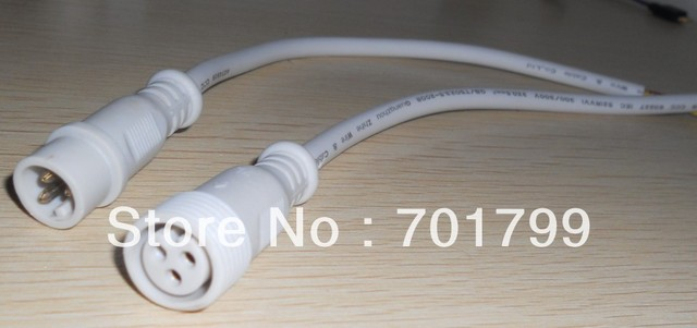 30cm long each 3 Core White Waterproof pigtail,male and female;male connector's diameter:13.5mm
