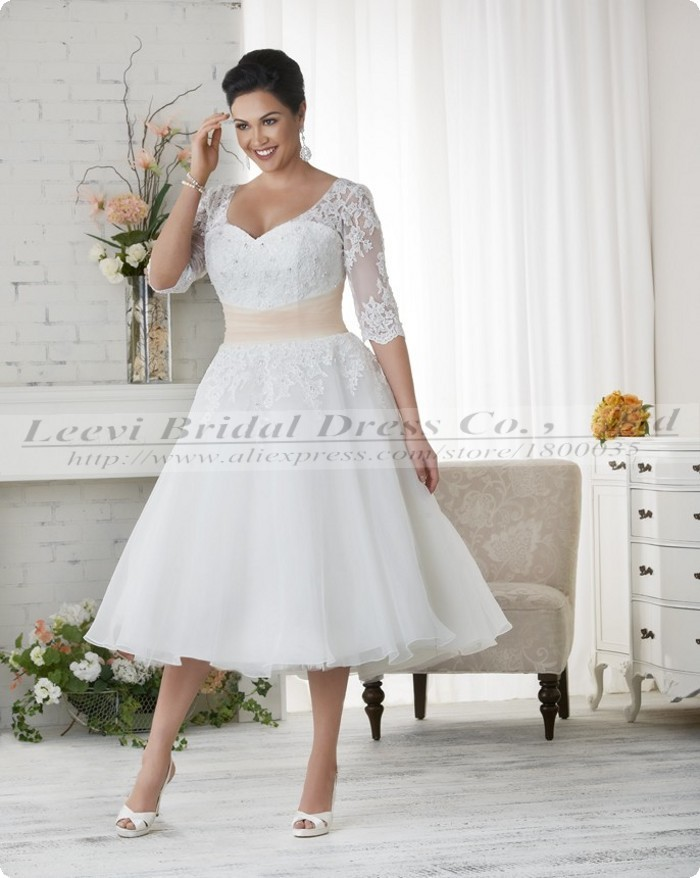 Vestidos de noiva plus size ball gown wedding dress for Wedding dresses tea length with sleeves