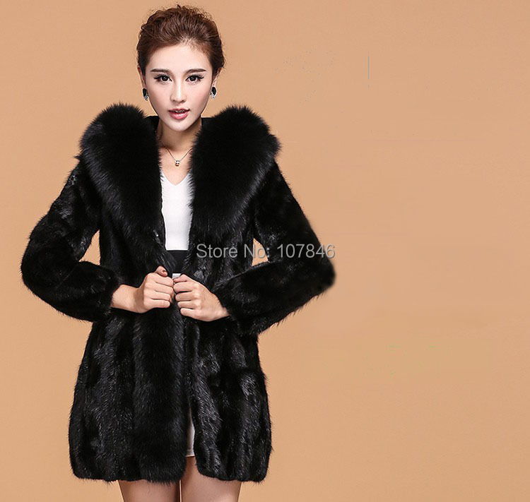 Luxury 2016 Genuine Natural Sliced Mink Fur Coat Jacket Fox Fur Hoodi Winter Coats Women Fur Outerwear Plus Size 3XL 4XL VK2002