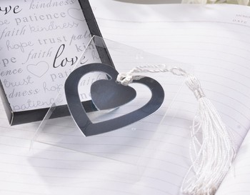 Free shipping Cute Silver  Double Heart Bookmark favours with Silk Tassel,Wedding Collections Bookmark Shower favors and gifts