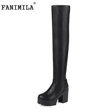 Buy Women Fashion Platform Round Toe Knee Boots Brand New Ladies Thick Heel Knight Botas Footwear Shoes Woman Size 34-43 for $29.98 in AliExpress store