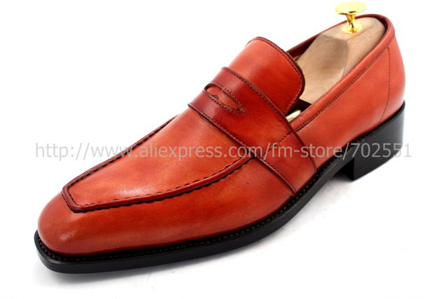 EMS Free shipping to avoid the customs tax goodyear welt handmade men's calfskin outsole orange brown shoe No.Loafer 25(China (Mainland))