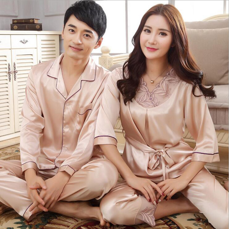Pajamas for couples lovers imitated silk sexy embroidery lace v-neck,women men champagne red pink sashes nightgown K-5813 5028(China (Mainland))
