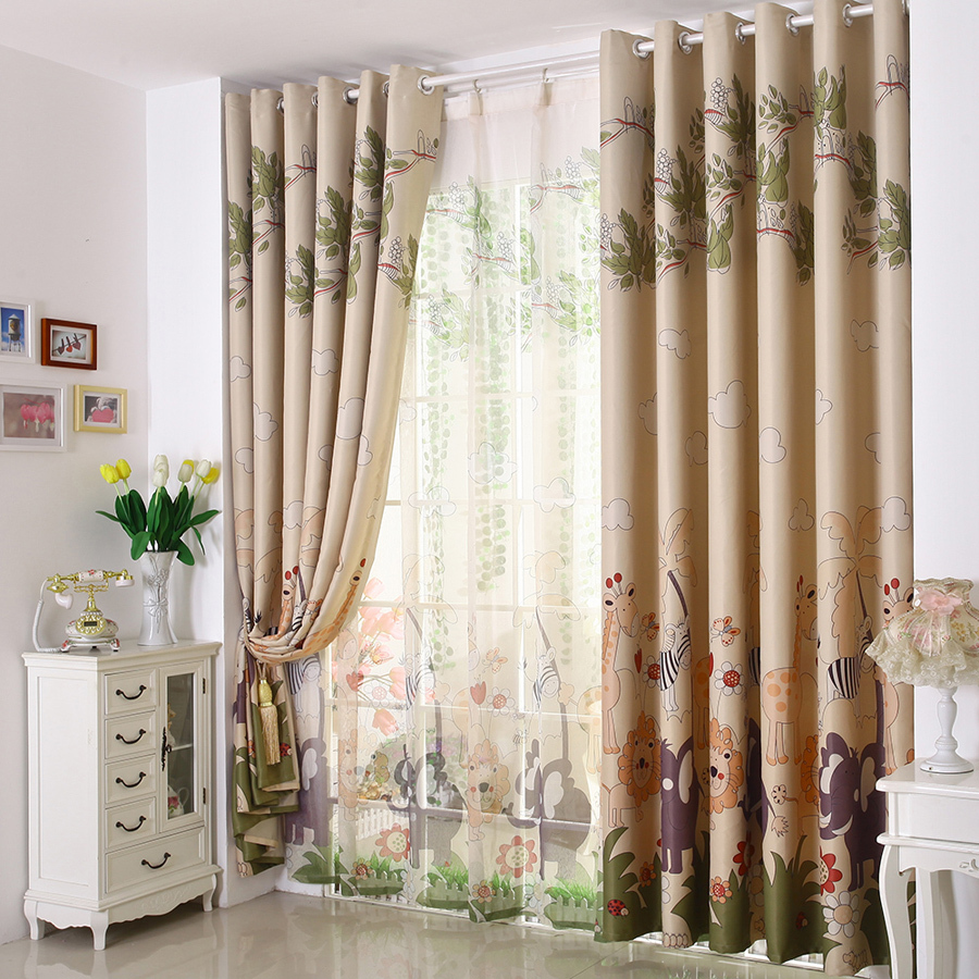 cartoon kids bedroom curtains girls bedroom curtains Forest park designs curtains(China (Mainland))