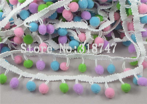 Гаджет  10mm  Pom Pom Trim Ball Fringe Ribbon DIY Sewing Accessory  Lace 1yard/lot 17010087(10HS1y) None Дом и Сад