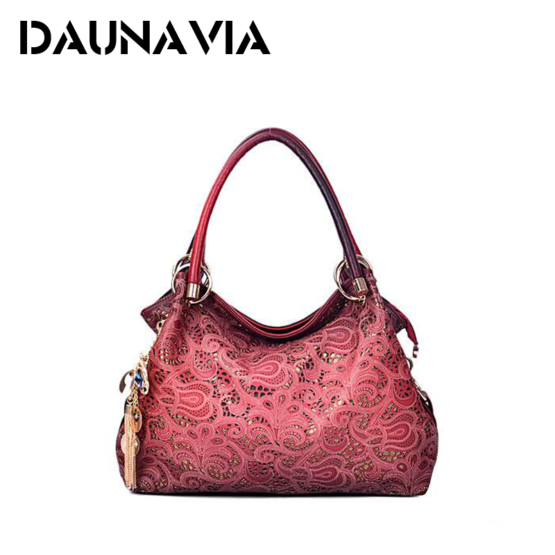 DAUNAVIA brand women bag hollow out ombre handbag floral print shoudler bags ladies pu leather tote bag red/gray/blue(China (Mainland))