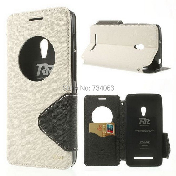 Roar Korean Diary View Window SMART Leather Cases Covers Credit Card For Asus ZenFone 5 Free Shipping 2ZEZ(China (Mainland))