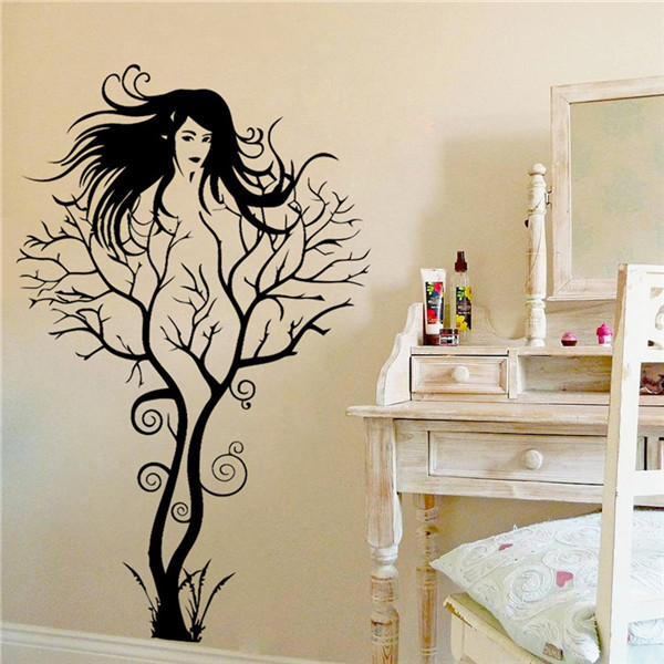 New creative sexy girl tree wall stickers home decor for Sticker para decorar dormitorios