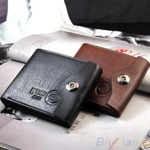 Men's Magnetic Clasp Faux Leather Bifold Card Holder Pockets Slim Purse Wallet