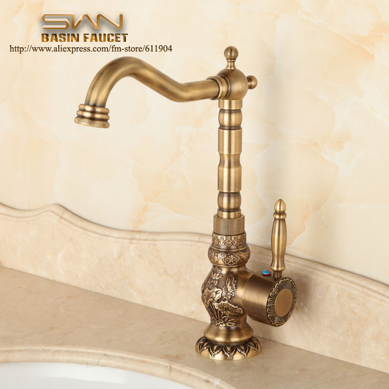 Buy Antique Brass Bathroom Faucet Lavatory Vessel Sink Basin Kitchen Faucets