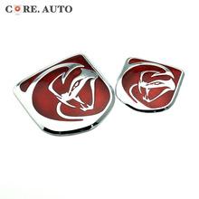 "NEW 2PC 63mm/86mm ""Snake"" logo Rear boot Trunk Emblem metal red Sticker Front Bonnet Hood Badge Fit Dodge Viper SRT(China (Mainland))"