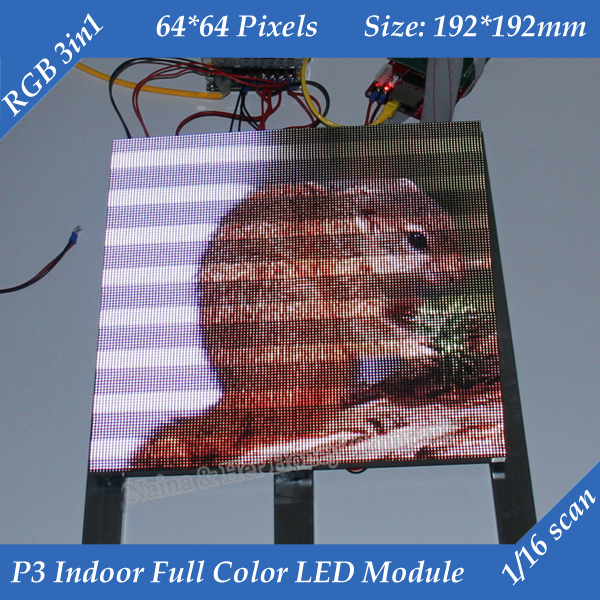 Free shipping 1/16 Scan 3in1 RGB P3 Indoor Full color Advertising media HD LED Display Module 192*192mm 64*64 pixels(China (Mainland))