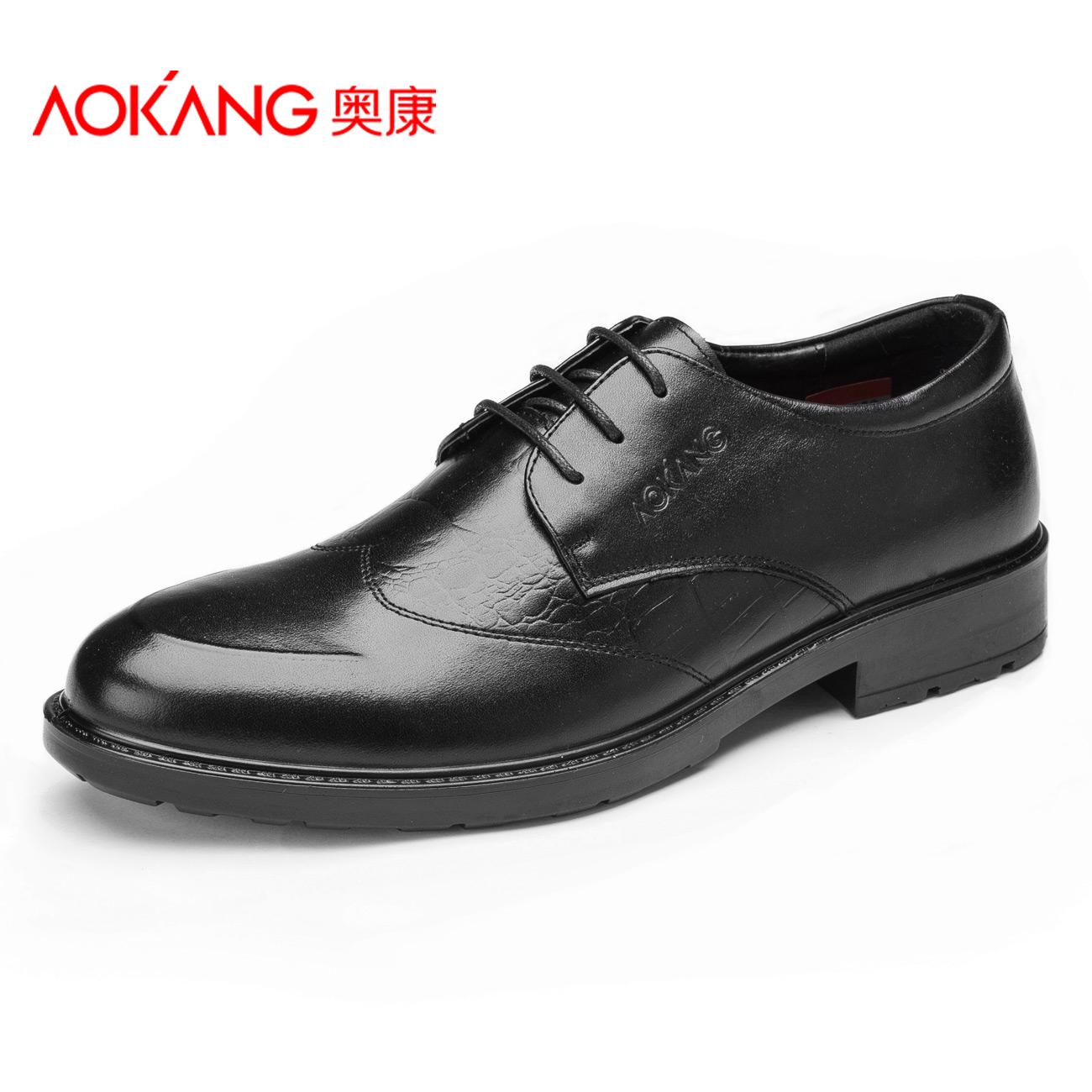 aokang 2016 dress shoes genuine leather shoes