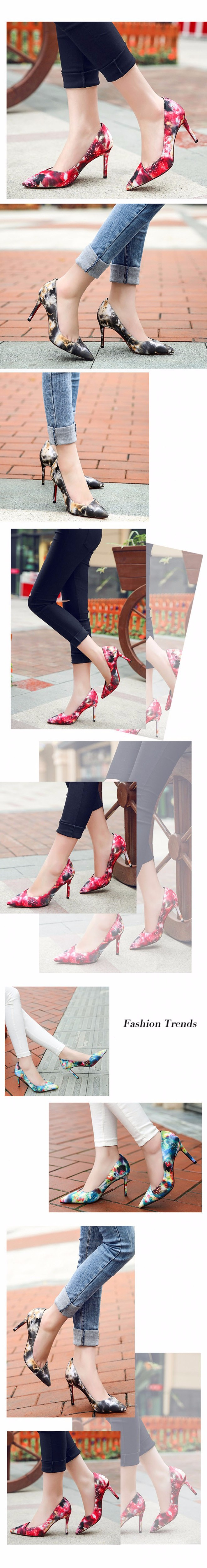 2016 New High-heeled Pumps Women Shoes High Heels Red Gray Blue Printing Shallow Mouth Thin Heel Pointed Toe Shoes For Women 3.0