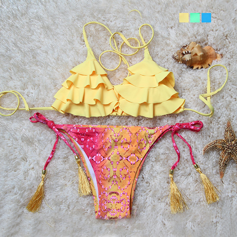 Гаджет  Bikini Sets 2015 New Floral Triangl Bikini Sexy Push Up Swimwear Women Swimsuit Swimwear Bathing Suit Brazilian Maillot De Bain None Одежда и аксессуары