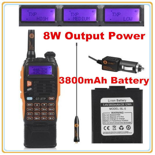 3800mAh Battery Baofeng GT-3TP MarkIII 8W Dual Band V/UHF Ham Two-way Radio(China (Mainland))