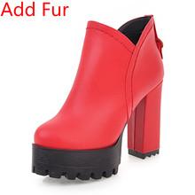 Bonjomarisa 2020 Thu Đông Plus Size 32-48 Nữ Xe Máy Nữ Nền Tảng Mắt Cá Chân Giày Cao Rộng Gót giày Nữ(China)