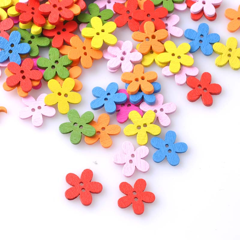 Multicolor 100pcs 14x15mm 2 Holes Mixed Flower Wooden decorative Buttons Fit Sewing Scrapbooking Crafts MT1047X(China (Mainland))