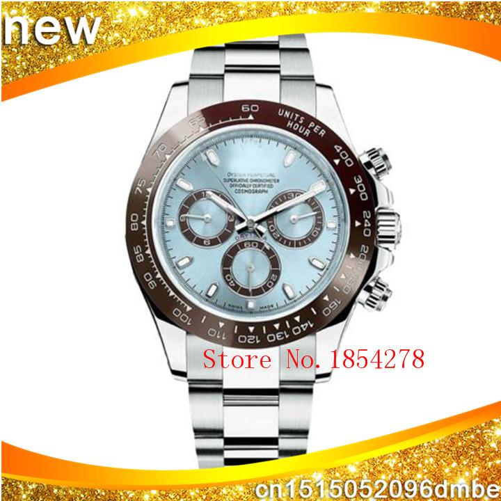 Brand NEW Luxury High-quality Cosmograph Daytona Ice Blue Dial Platinum Mens Watch 116506 Automatic Men's Watch(China (Mainland))
