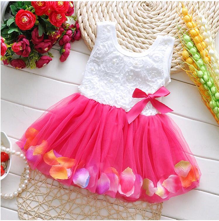 Fashion summer colorful Mini Tutu Dress Petal Hem Dress Floral Clothes princess baby dress Summer For baby dresses girl(China (Mainland))