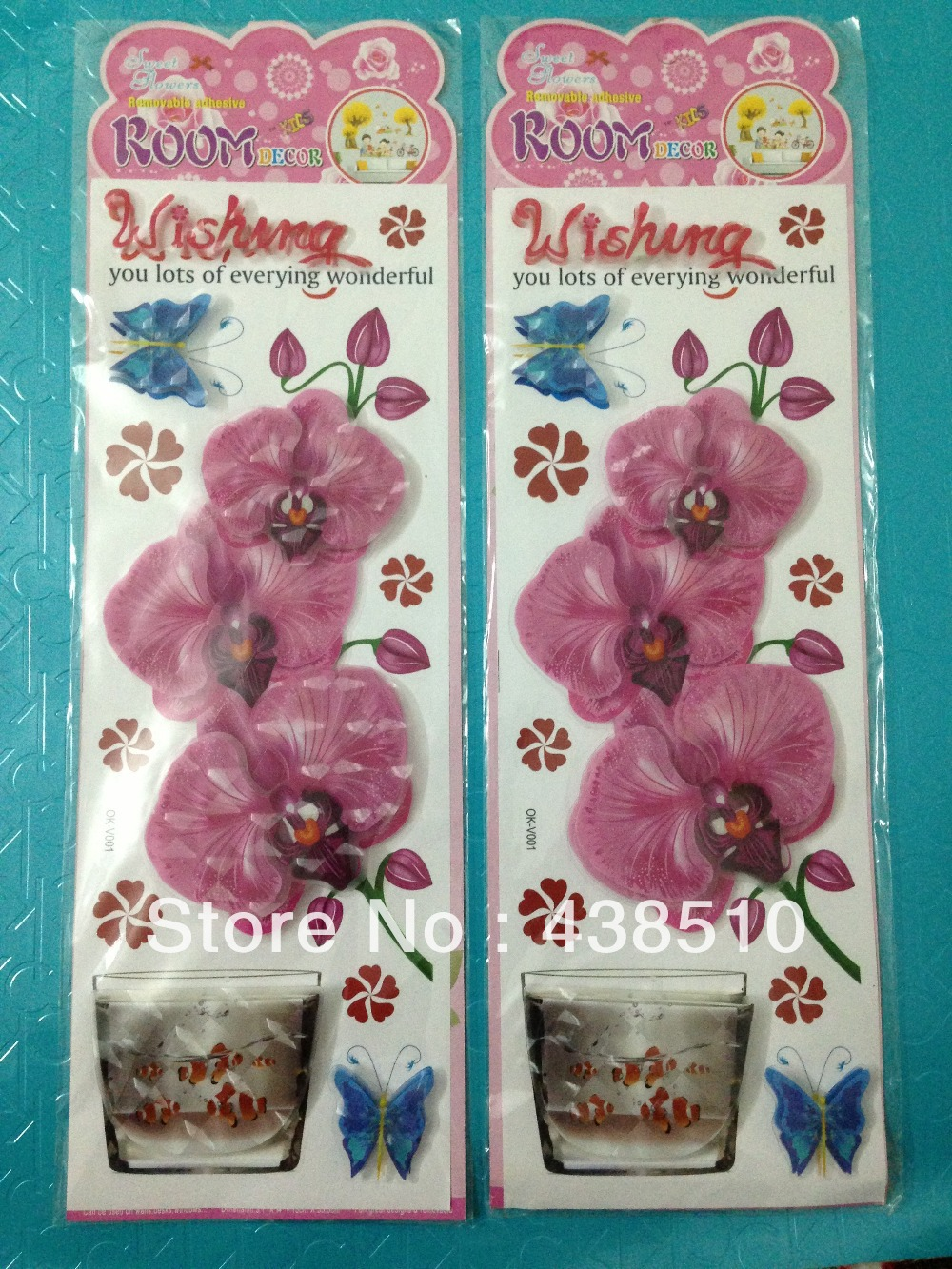 Hotsale 3D wall stickers room accessories home Decor flower sticker Mix Order(China (Mainland))