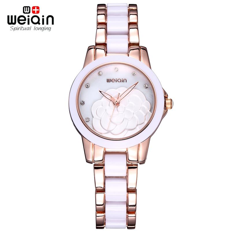 WEIQIN Brand Watches Woman Rose Gold White Rhinestone Crystal Flower Hollow Analog Fashion Watch Women Ladies Dress Wristwatch<br><br>Aliexpress