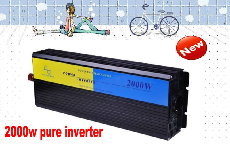 DHL Fedex Door to door Free Shipping Hot selling 2000w inverter pure sine wave dc to ac 12v to 220v inverter free shipping(China (Mainland))