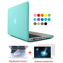 For Mac PC crystal rubberized laptop cases cover For MacBook Air 11 Pro 13 / 15 Retina laptop bag + Pink Keyboard Cover