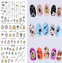 DS148 2015 New Water Transfer Nails Art Sticker Nail Polish Figure Bottles Nail Wrap Sticker Tips Manicura nail art decorations(China (Mainland))