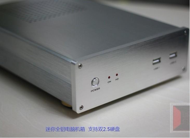 Htpc mini itx Desktop aluminum small computer case H61 i3 i5 i7 Atom D525 D2550 D2700 D2800 E350 E340(China (Mainland))