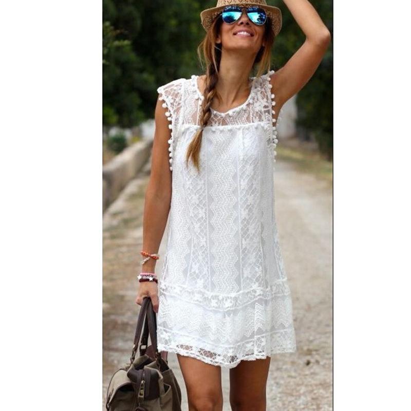Women Summer Beach Dress 2015 Robes Femmes Sleeveless Handmade Crochet Mini Short Ladies White Lace Dresses vestidos femininos(China (Mainland))