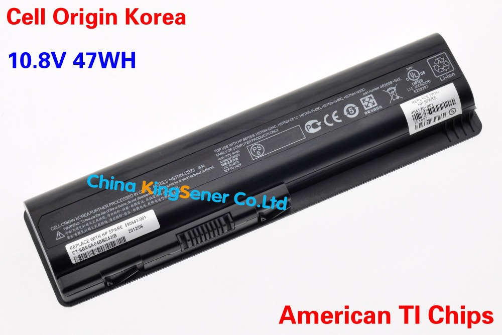 Korea Cell New Laptop Battery for HP Pavilion DV4 DV5 DV5Z DV6 G50 G60 CQ40 CQ45 CQ50 G60 HSTNN-UB73 HSTNN-LB73 HSTNN-CB73 47WH(China (Mainland))