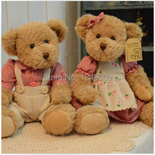 26cm 2 pieces couple  teddy bear with cloth plush bear  toy  high quality  valentine gift(China (Mainland))