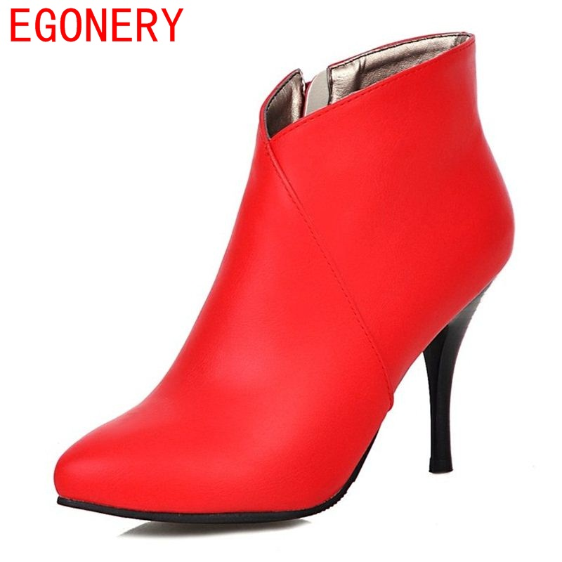 EGONERY shoes 2017 women ankle boots fashion riding boots side zipper sexy pointed toe thin heels short plush shoes size 34-39(China (Mainland))