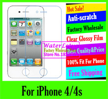 For iPhone 4/4s Clear Glossy mobile protective film to phone screen protector de pantalla projector LCD film case guard
