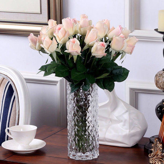 Light Pink 20 Stems/Lot - Latex Rose Free Shipping Artificial Flower Wedding Real Touch Flower Rose Home Decorative Coffee Shop(China (Mainland))