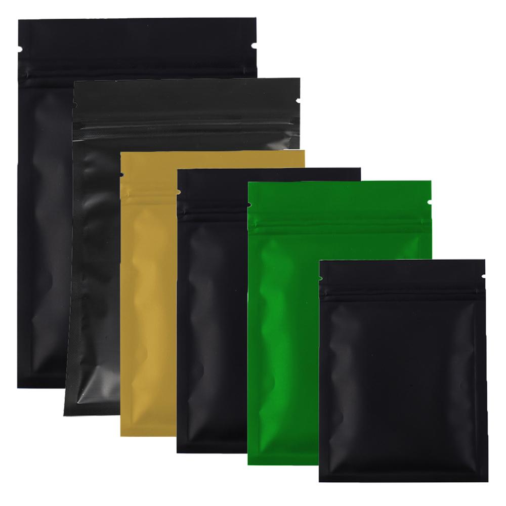 Various Sizes 100pcs/lot Black Gold Green Colors Zipper top Packing bag Flat Metallic Mylar Zip lock Storage Bag for food tea(China (Mainland))