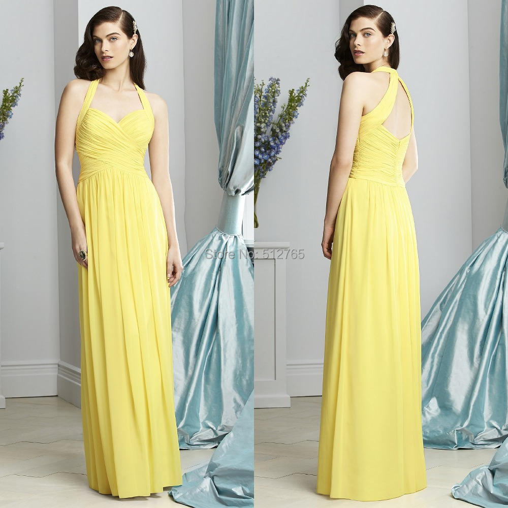 Buy hot sale 2015 yellow bridesmaid dress for Yellow wedding dresses for sale