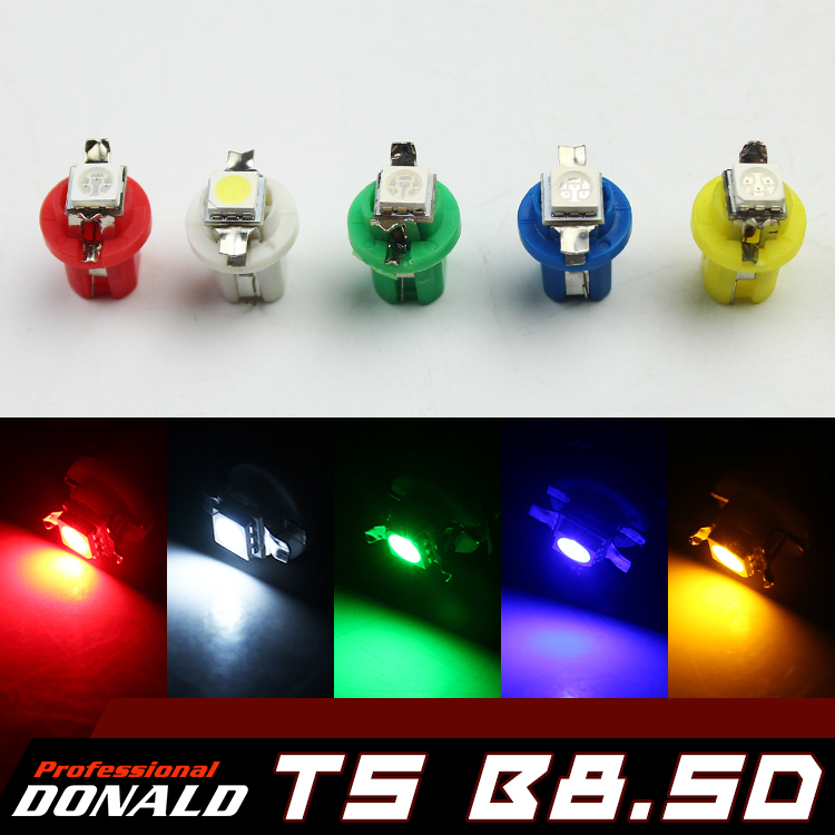 WHOLESALE!!! 20x 12V T5 B8.5D Car Gauge 5050 1SMD LED Dashboard Instrument Indicator Light Side -- White Yellow Blue Green Red(China (Mainland))