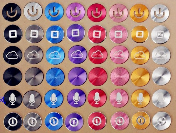 300pcs/lot,High Quality Metal Home Button Stickers for iPhone 4 4s 5C 5S for iPad DIY phone decoration,Free shipping