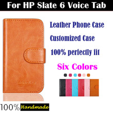 6 Colors Luxury Flip Leather Customized Phone Case Cover For HP Slate 6 Voice Tab 6inch Cover with Card Holder(China (Mainland))