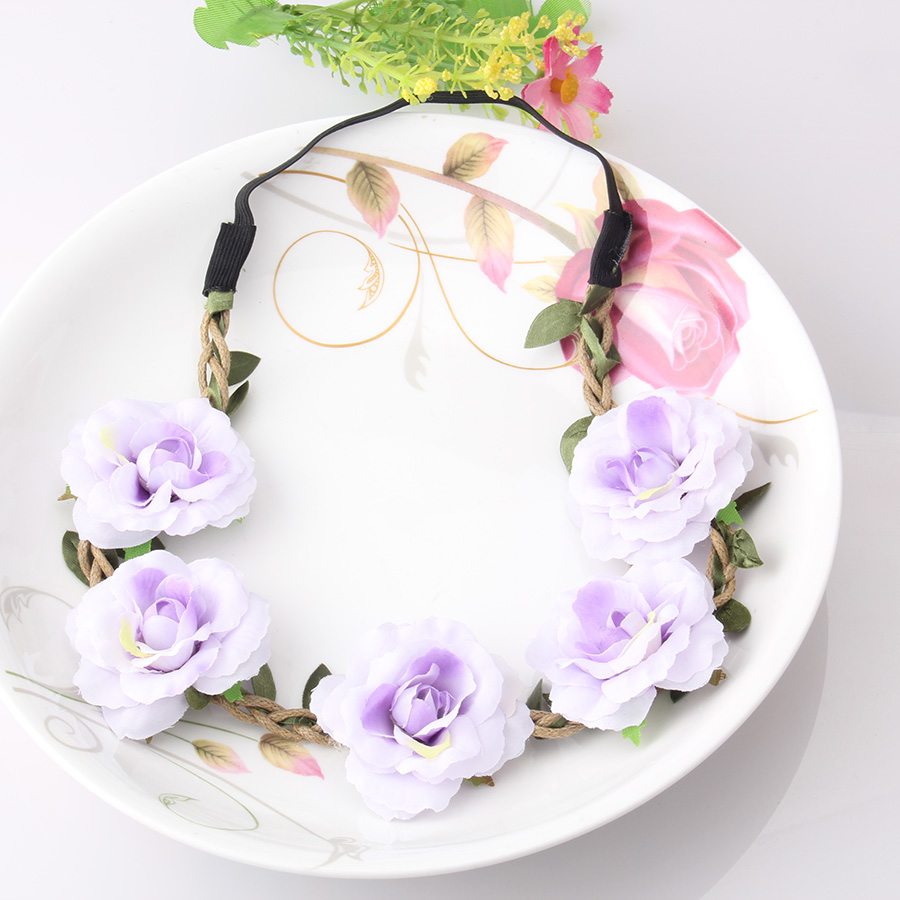New High Quality Peony Women s Bohemian Floral Headbands Flower Party Wedding Hair Wreaths Hair Band