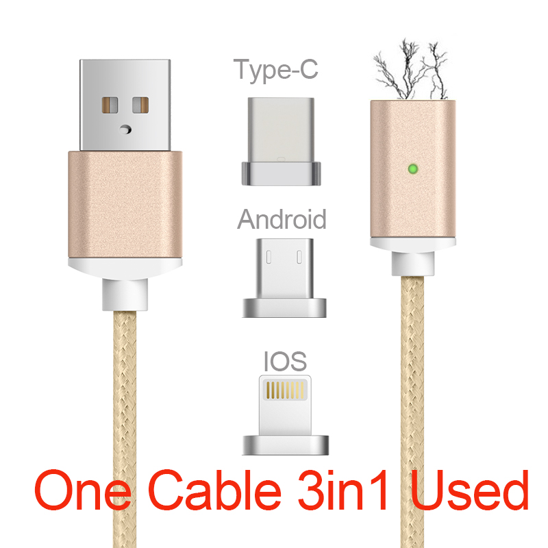 GARAS Magnetic Cable Lightning Micro USB Type C 3in1 Mobile Phone Magnet Cable Fast Charging Magnetic Micro USB Cable Adapter