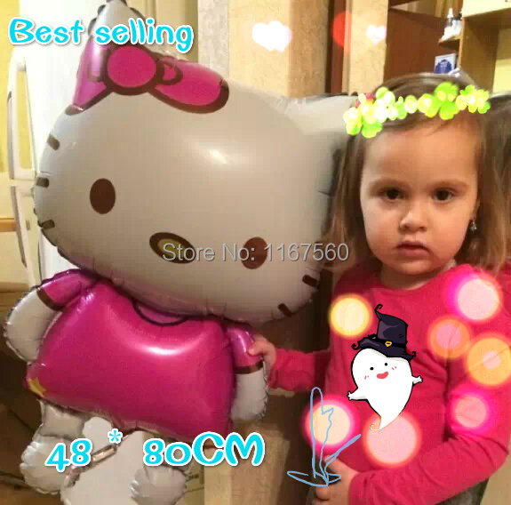 Free shipping Large 80x48cm cartoon Hello Kitty birthday wedding decoration party inflatable air foil balloons Classic toys(China (Mainland))